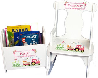 Personalized Puzzle Rocker and Book Caddy set with Pink Tractor Design-rknrd-211d