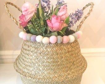 Les herbiers du ventre panier feutrine Pom Poms printemps Pâques couleurs
