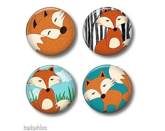 Mr Fox fridge magnets or button badges