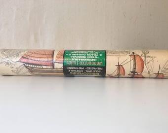 Vintage Sailboat Wallpaper / Sailboat Wallcovering / Vintage Wallaper / Sailing Wallpaper / Nautical / Sailboats / Sailing / Wallpaper
