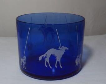 Vintage Ritz Blue Depression Glass Hazel Atlas Ice Bucket Show Dogs