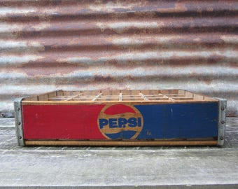 Vintage Wood Crate Coca Cola Beverages Coke Delivery Box Red & Yellow Delivery Box Shabby Very Rustic AGED Distressed Industrial vtg Storage