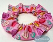 Puppy Love Dog Scrunchie Ruffle, Conversation Hearts, Valentine Candy Pet Scrunchie | SewAmazin
