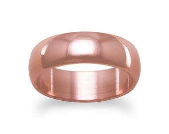 6mm Solid Copper Ring Band for Bridal Wedding