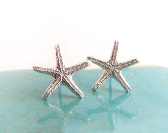 Tiny Silver Starfish Earrings