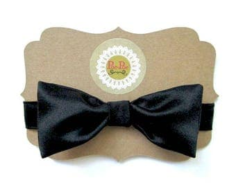 Black Bow Tie, Toddler Bow Tie, Boy's Bow Tie, Infant Bow Tie, Childs Bow Tie, Bow Ties, Made in USA, Under 15 Dollars, Ready To Ship