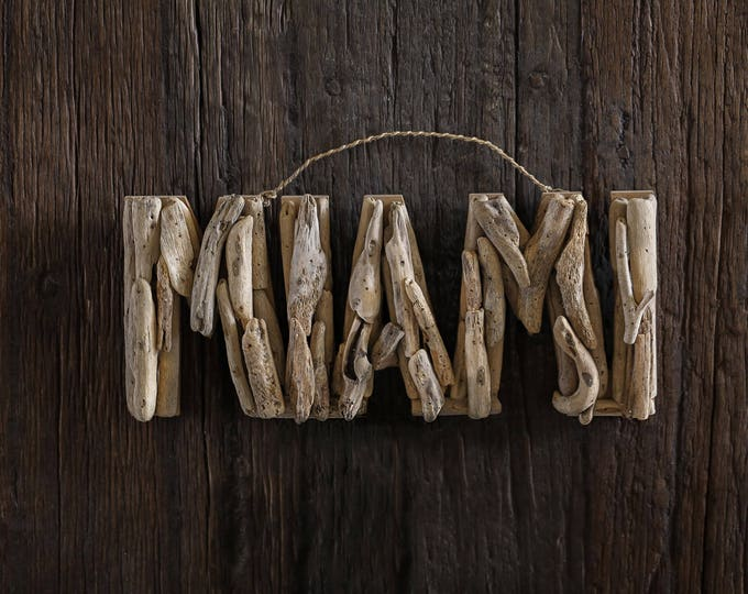 Driftwood Beach Décor MIAMI signs by SEASTYLE