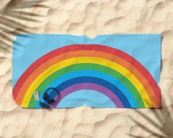 3 colour options, Large Beach Towel, Over-sized 74 in x 37 in, Hand Towel, Bath Towel, Rainbow towel, Blue sky, Fun beach, bath, hand towels