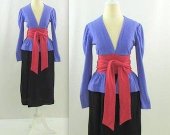 SALE Designer Scott Barrie Peplum Dress - Vintage 1970s Color Block Wool Jersey Dress in Small