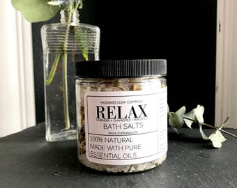 RELAX Bath Salts>> aromatherapy/all natural/ chamomile/lavender/bergamot/howard soap company/ minnesota made