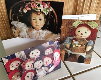 """Vintage 80's  """"RAG DOLLS CARDS"""" Two Birthday Cards from Susan's Card Company & a Post card"""