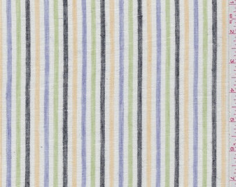 Ivory Multi Stripe Linen, Fabric By The Yard