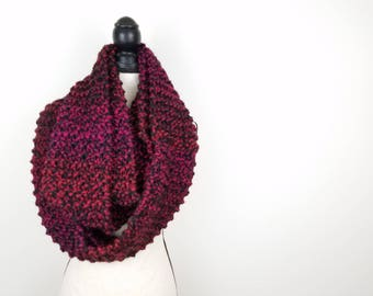 Red Blanket Scarf Knit Infinity Scarf