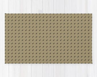 Soft Lightweight Woven AREA RUG MAT Black Dashes Neutral Olive Moss Green  Minimalist Laundry Room Bath