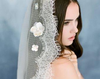 Bridal veil 2017- Mantilla veil- Gold bridal veil-polka dot veil-wedding veil-fingertip veil- lace veil-beaded veil- style 104
