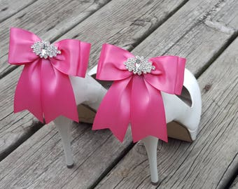 Hot Pink Wedding Shoe Clips Bridal Shoe Clips,  MANY COLORS, Satin Bow Shoe Clips, Bridesmaids, Clips for Wedding Shoes Bridal Shoes Pink