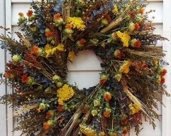 Fall Dried Flower Indoor Wreath Yellow and Orange Flowers 20 Inch