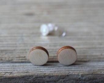 Wooden disc 10 mm / wooden post earrings / set of 10 / diy jewelry