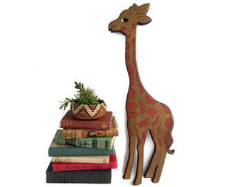 Vintage Wooden Giraffe Wall Hanging Solid Painted Wood Home Decor Wall Art Boho Bohemian Wall Art Gallery Baby Nursery Wall Decor Zoo Animal