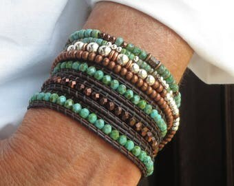 Beaded Bracelet Stack, Beaded Jewelry, Beaded Wrap Bracelet, Beaded Leather Bracelet for Women, Bracelets for Women, Bohemian