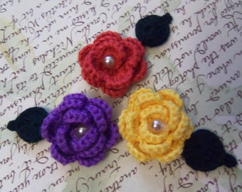 Handmade Crochet Flowers and Leafs Appliques. Red, Purple and Yellow Crochet Flower Appliques.