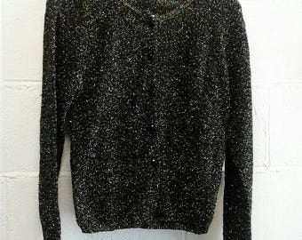 90's Womens Sparkly Gold and Black Metallic Cardigan