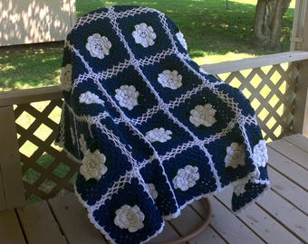Vintage Blue and White Afghan