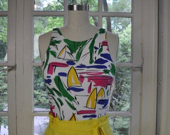 Christian Dior Cotton Knit Tank Top/Vintage 1980s 90s/Bright Bold Graphic Print of Sailboats/Sleeveless Shell Tank Top