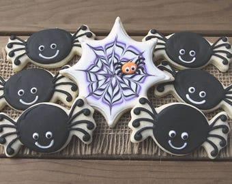 Halloween Party Favors / Halloween Cookies / Halloween Favors / Spider Favors / Spider Sugar Cookies / Spider Web Cookies / Spider Cookies