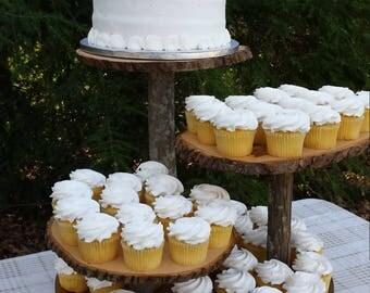 Reserved listing for Nicole Rustic Wedding Cupcake Stand Cake Dessert Server Log Slice 4 Tier Log Slices