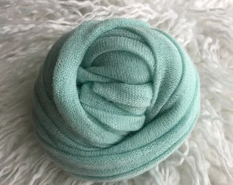 Soft and fluffy MINT knit wrap for newborn photography, soft & stretchy soft newborn wrap includes US shipping