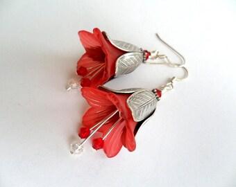 Red Tulip Flower Silver Swarvoski Crystal Women's Artistic Handmade Floral Earrings, Whimsical Tulip Petal Cap Colorful Earrings, Romantic