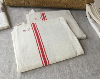 French Vintage 2 Dish Towels, pair of Linen and Cotton towels Red stripes MF