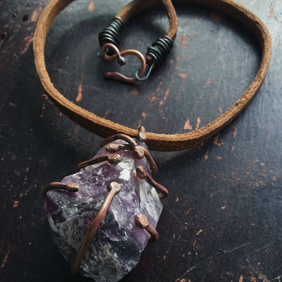Raw crystal necklace | raw amethyst, large rough amethyst, raw stone necklace, rough crystal, purple stone necklace, gypsy boho necklace