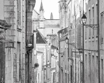 France Black and White Photo - Street in Poitiers, Historic Town, Fine Art Photograph, Home Decor, Large Wall Art, Gallery Wall Art