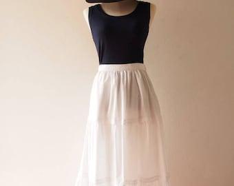 Mid Year SALE White Bohemian Skirt Boho Chic Skirt White Long Skirt Cotton White Maxi Skirt Beach Skirt - No.3
