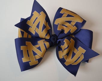 University of Notre Dame Fighting Irish Hair Bow ND Blue and Gold