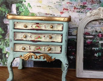 Dollhouse Miniature Shabby Chic Light Turquoise Victorian Farmhouse Cottage Night Stand
