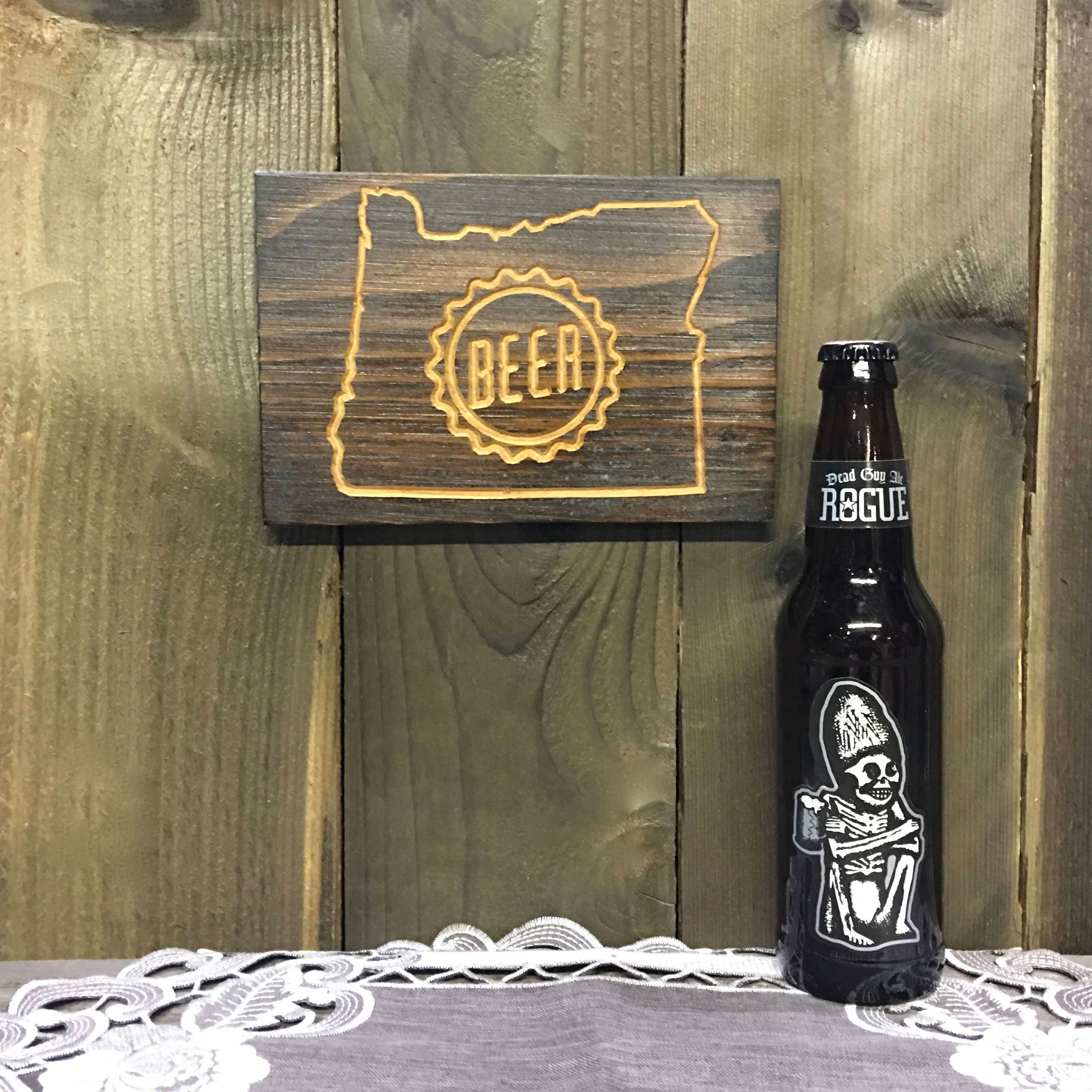 Small Gifts For Man Cave : Small oregon beer sign plaque bend home brew lover man