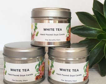 White tea candle, soy candle tins, soy candles UK, soy wax candles, soya candle, candle gift, unusual scent candle, luxury candles tea lover