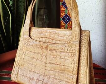 Vintage 1950's embossed leather handbag purse