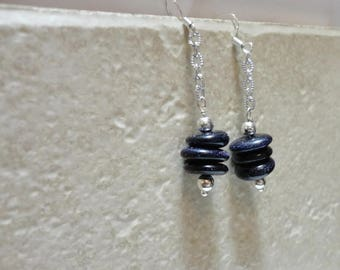 blue goldstone chain earrings STERLING SILVER earrings