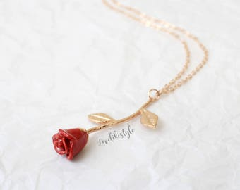Rose gold Red Petal Rose Stem Pendent Necklace, Bridesmaid Gift, Birthday Gift, Rose  Necklace ,Layered Necklace