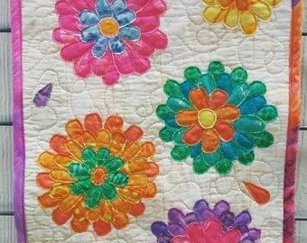 Quilted flowers wall hanging, CUSTOM ORDER ONLY, one of a kind custom order, baby's room quilt, child's room quilt, nursery quilt, flowers