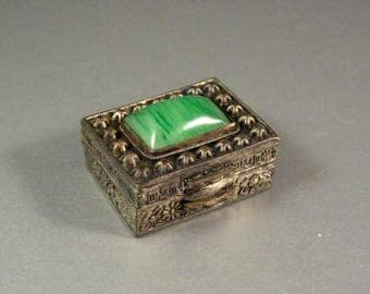 Antique Chinese Snuff Box with Jade Cabochon / Enamel  Lining