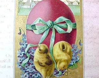 Charming 1910 Era Easter Postcard-Chicks with Violets and Large Egg
