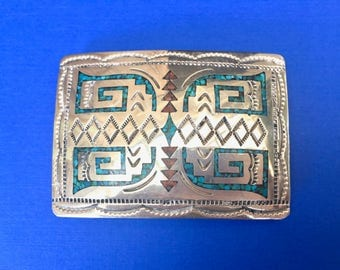 Beautiful Vintage Native American Zuni Silver Belt Buckle Inlaid with Turquoise and Coral