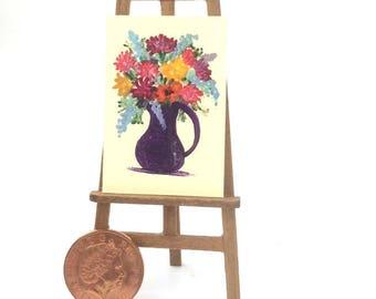 Flower Jug Pitcher Painting Still Life Original Art Flower Painting Miniature Dolls House Art Picture Dollhouse