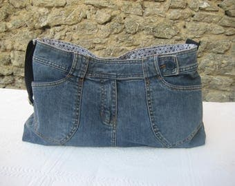 Recycled jean shoulder bag, made from a skirt, unique piece!