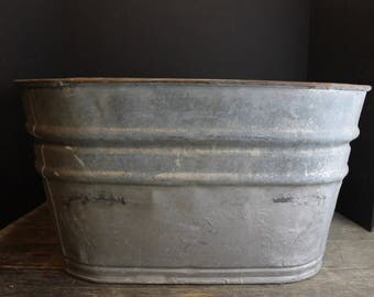 Vintage Large Square Zinc Galvanized Basin With Handles // No 2 // Rustic Wine Cooler // Planter // Wash Tub